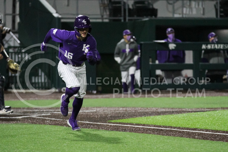 Freshman Elijah Dale head to first base during the April 14, 2021 game against Northern Colorado at Tointon Family Stadium. (Sophie Osborn | Collegian Media Group)