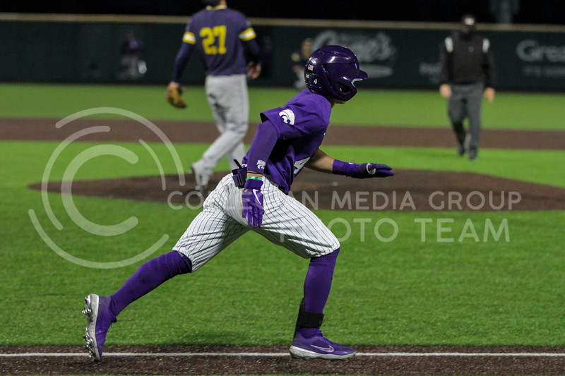 Sophomore Blake Burrows heads to first during the April 14, 2021 game against Northern Colorado at Tointon Family Stadium. (Sophie Osborn | Collegian Media Group)
