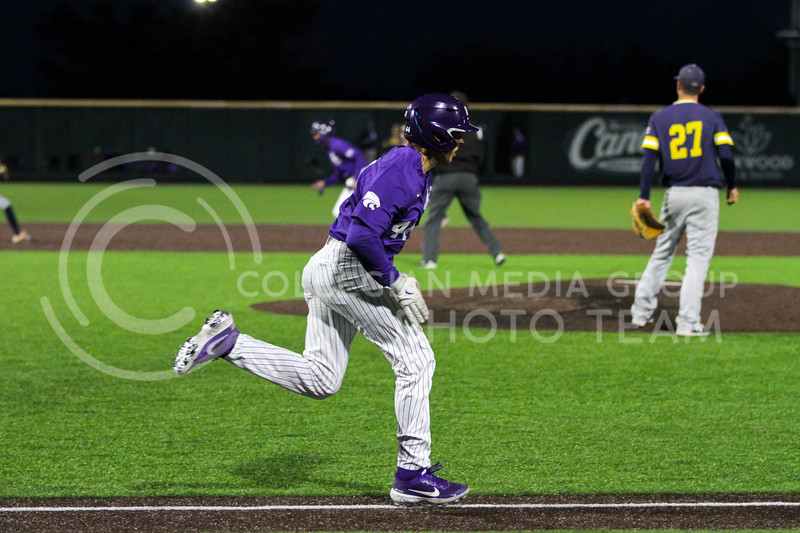 Junior Dylan Caplinger runs toward the base during the April 14, 2021 game against Northern Colorado at Tointon Family Stadium. (Sophie Osborn | Collegian Media Group)