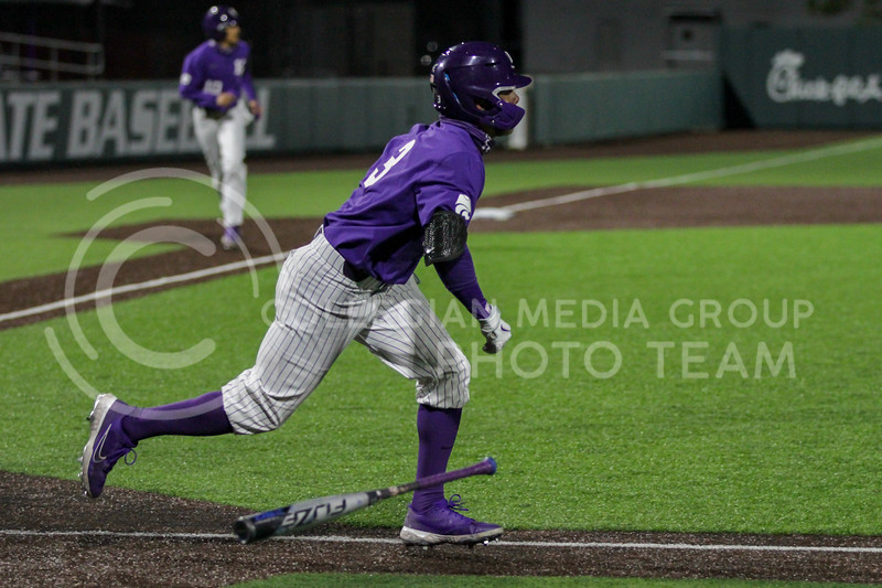 Senior Cameron Thompson drops his bat and heads toward first base during the April 14, 2021 game against Northern Colorado at Tointon Family Stadium. (Sophie Osborn | Collegian Media Group)