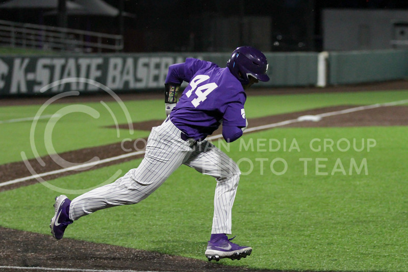 Junior Dylan Caplinger heads toward first base during the April 14, 2021 game against Northern Colorado at Tointon Family Stadium. (Sophie Osborn | Collegian Media Group)