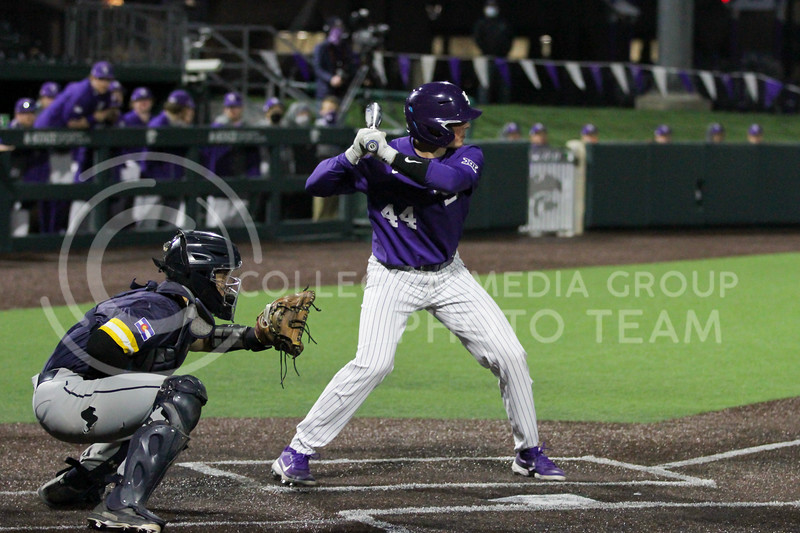 Junior Dylan Caplinger steps up to bat during the April 14, 2021 game against Northern Colorado at Tointon Family Stadium. (Sophie Osborn | Collegian Media Group)