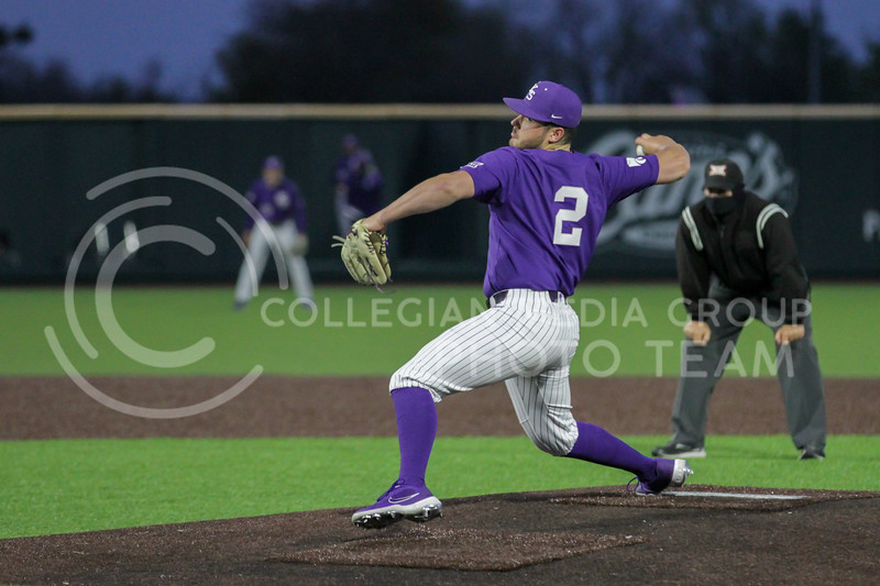 Junior Jaxon Passino pitches the ball during the April 14, 2021 game against Northern Colorado at Tointon Family Stadium. (Sophie Osborn | Collegian Media Group)