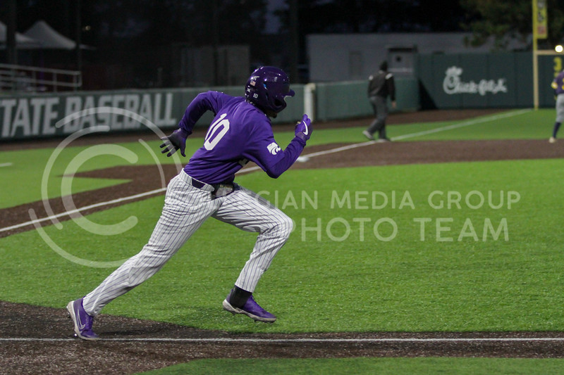 Junior Kamron Willman runs to first during the April 14, 2021 game against Northern Colorado at Tointon Family Stadium. (Sophie Osborn | Collegian Media Group)