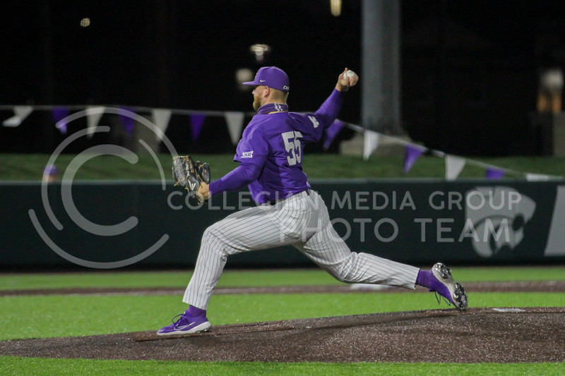 Senior Kasey Ford pitches the ball during the April 14, 2021 game against Northern Colorado at Tointon Family Stadium. (Sophie Osborn | Collegian Media Group)