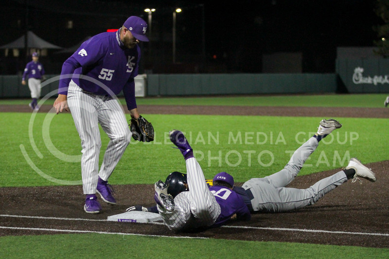 Sophomore Daniel Carinci dives to successfully get a runner out at first during the April 14, 2021 game against Northern Colorado at Tointon Family Stadium. (Sophie Osborn | Collegian Media Group)