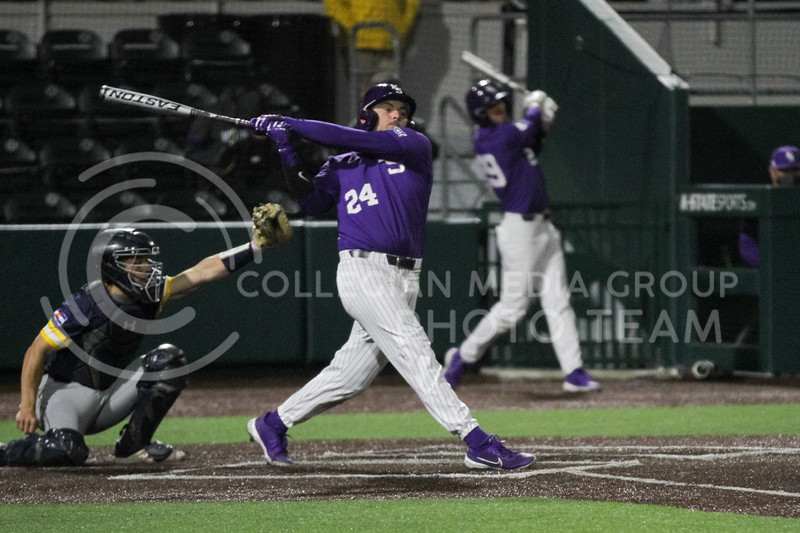 Sophomore Dylan Phillips swings through during the April 14, 2021 game against Northern Colorado at Tointon Family Stadium. (Sophie Osborn | Collegian Media Group)