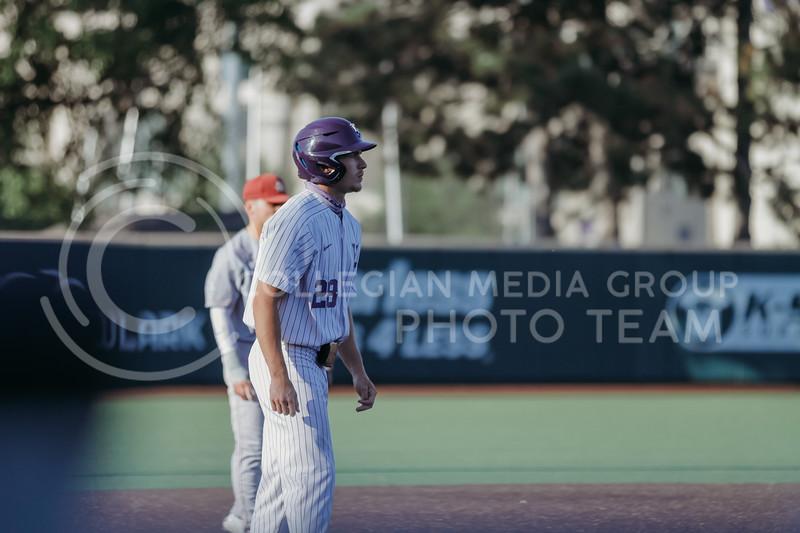 Junior Zach Kokoska waits at third base during the April 30, 2021 game against Texas Southern at Tointon Family Stadium. (Sophie Osborn   Collegian Media Group)