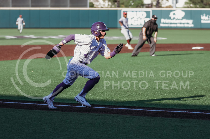 Sophomore Blake Burrows heads towards home plate during the April 30, 2021 game against Texas Southern at Tointon Family Stadium. (Sophie Osborn   Collegian Media Group)