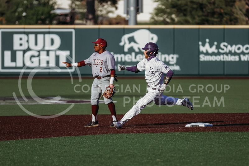 Senior Cameron Thompson runs past an opponent during the April 30, 2021 game against Texas Southern at Tointon Family Stadium. (Sophie Osborn   Collegian Media Group)