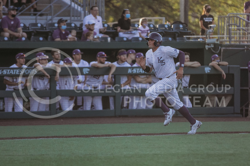 Sophomore Dylan Phillips runs home during the April 30, 2021 game against Texas Southern at Tointon Family Stadium. (Sophie Osborn   Collegian Media Group)
