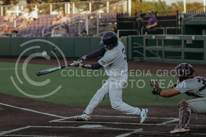 Senior Cameron Thompson swings to hit the ball during the April 30, 2021 game against Texas Southern at Tointon Family Stadium. (Sophie Osborn   Collegian Media Group)