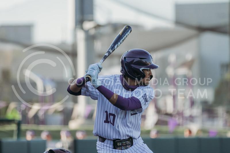 Junior Kamron Willman prepares to bat during the April 30, 2021 game against Texas Southern at Tointon Family Stadium. (Sophie Osborn   Collegian Media Group)