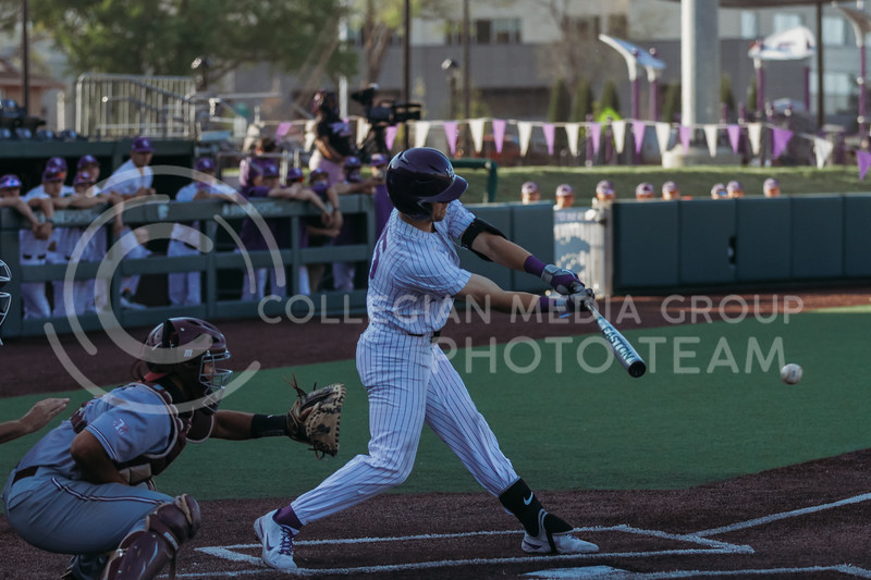 Freshman Nick Goodwin hits the ball during the April 30, 2021 game against Texas Southern at Tointon Family Stadium. (Sophie Osborn   Collegian Media Group)