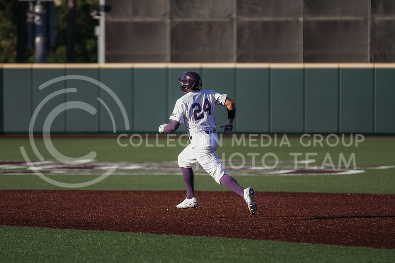 Sophomore Dylan Phillips runs to third base during the April 30, 2021 game against Texas Southern at Tointon Family Stadium. (Sophie Osborn   Collegian Media Group)
