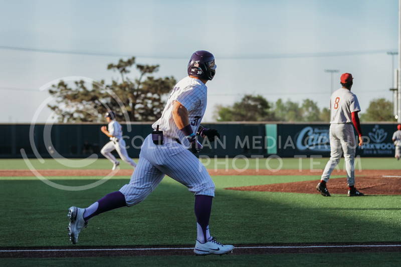 Senior Chris Ceballos heads to first base during the April 30, 2021 game against Texas Southern at Tointon Family Stadium. (Sophie Osborn   Collegian Media Group)