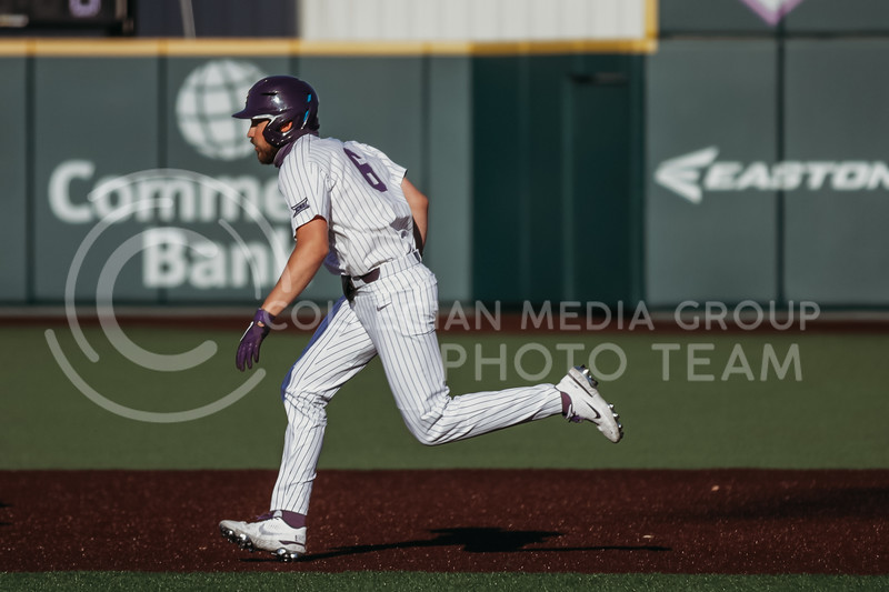 Junior Terrence Spurlin runs to base during the April 30, 2021 game against Texas Southern at Tointon Family Stadium. (Sophie Osborn   Collegian Media Group)