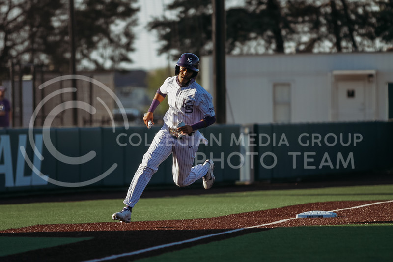 Junior Kamron Willman runs to home during the April 30, 2021 game against Texas Southern at Tointon Family Stadium. (Sophie Osborn   Collegian Media Group)