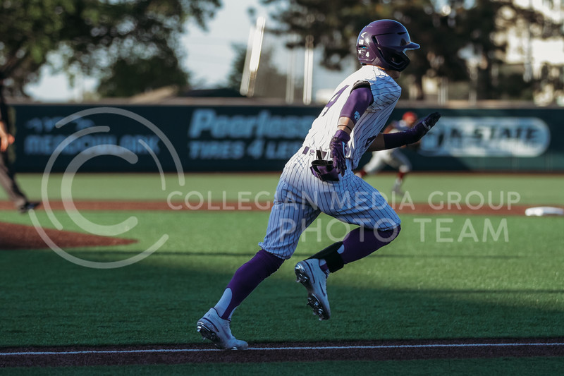 Sophomore Blake Burrows runs towards first base during the April 30, 2021 game against Texas Southern at Tointon Family Stadium. (Sophie Osborn   Collegian Media Group)