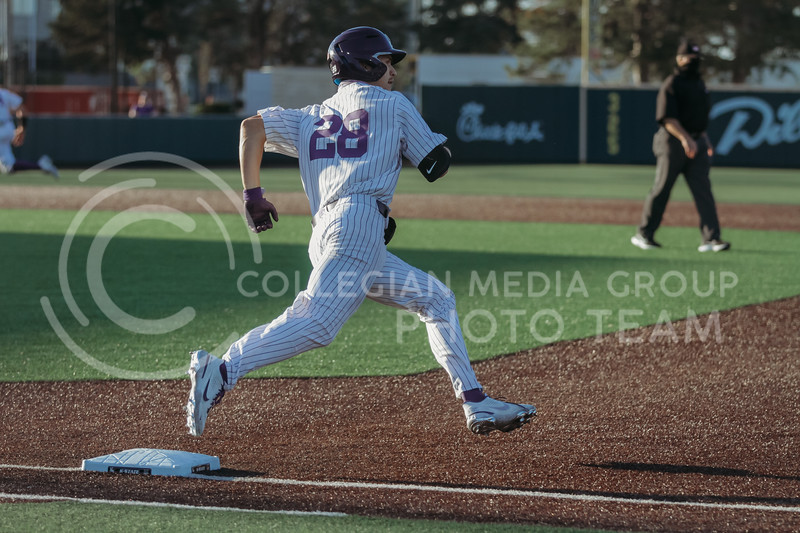 Junior Zach Kokoska runs through first base during the April 30, 2021 game against Texas Southern at Tointon Family Stadium. (Sophie Osborn   Collegian Media Group)