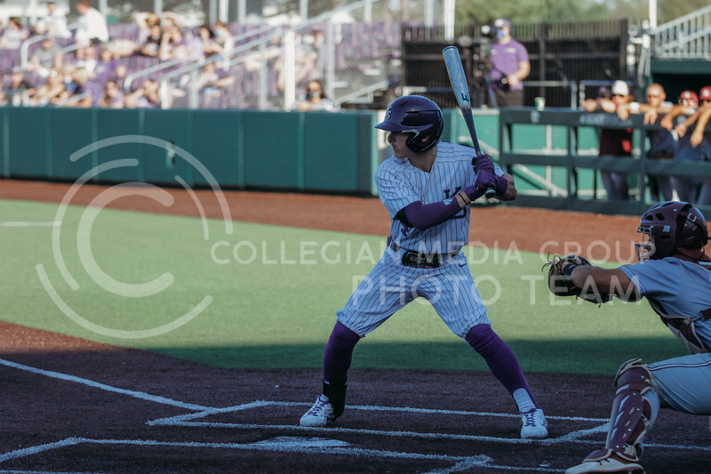 Sophomore Blake Burrows steps up to bat during the April 30, 2021 game against Texas Southern at Tointon Family Stadium. (Sophie Osborn   Collegian Media Group)