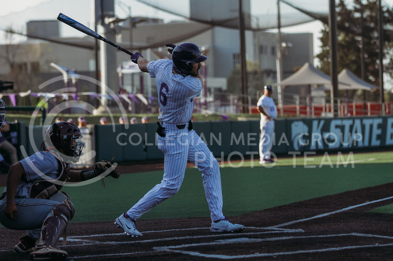 Junior Terrence Spurlin swings through during the April 30, 2021 game against Texas Southern at Tointon Family Stadium. (Sophie Osborn   Collegian Media Group)