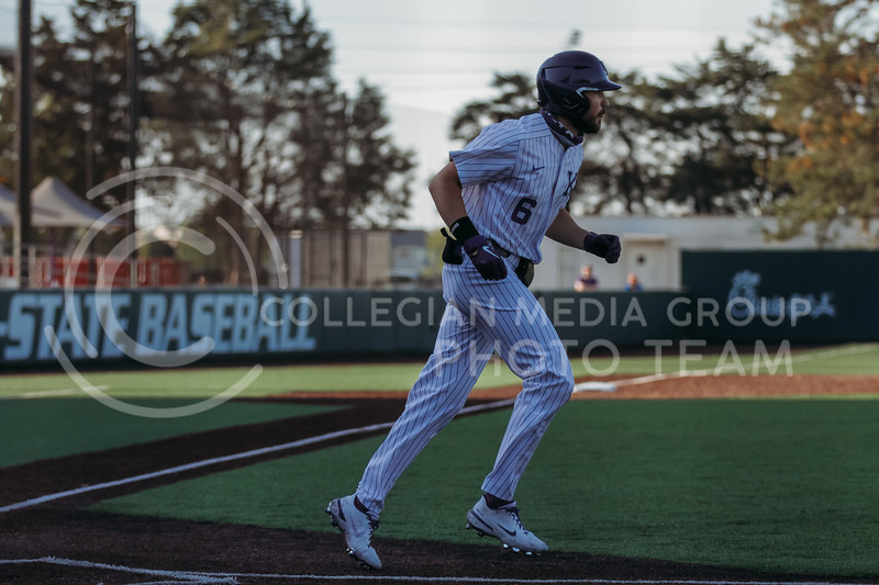 Junior Terrence Spurlin runs towards first base during the April 30, 2021 game against Texas Southern at Tointon Family Stadium. (Sophie Osborn   Collegian Media Group)