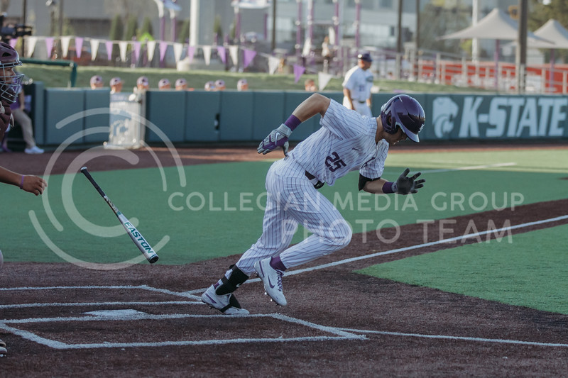 Freshman Nick Goodwin drops his bat and runs towards first base during the April 30, 2021 game against Texas Southern at Tointon Family Stadium. (Sophie Osborn   Collegian Media Group)