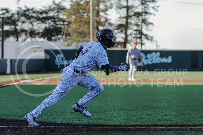 Senior Cameron Thompson runs towards first place during the April 30, 2021 game against Texas Southern at Tointon Family Stadium. (Sophie Osborn   Collegian Media Group)
