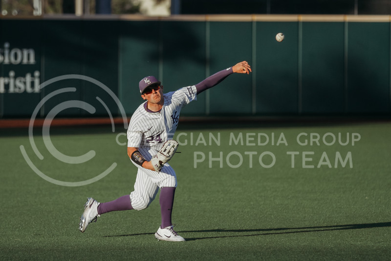 Sophomore Dylan Phillips throws the ball during the April 30, 2021 game against Texas Southern at Tointon Family Stadium. (Sophie Osborn   Collegian Media Group)