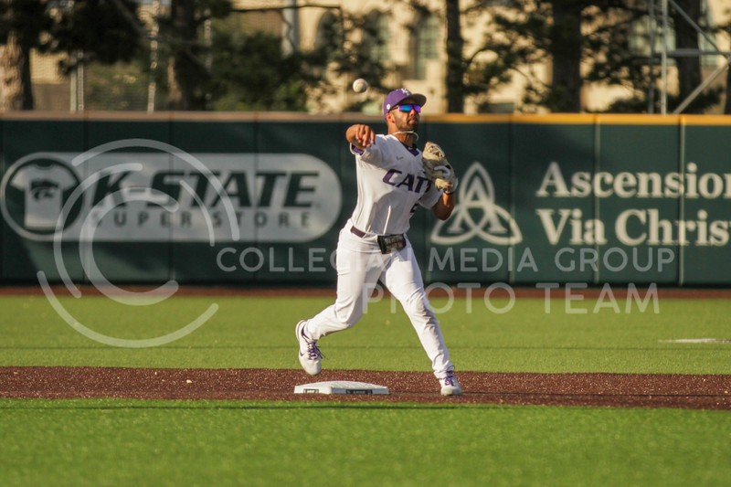 Sophomore Daniel Carinci passes the ball to a teammate during the May 1, 2021 game against Texas Southern at Tointon Family Stadium. (Sophie Osborn | Collegian Media Group)