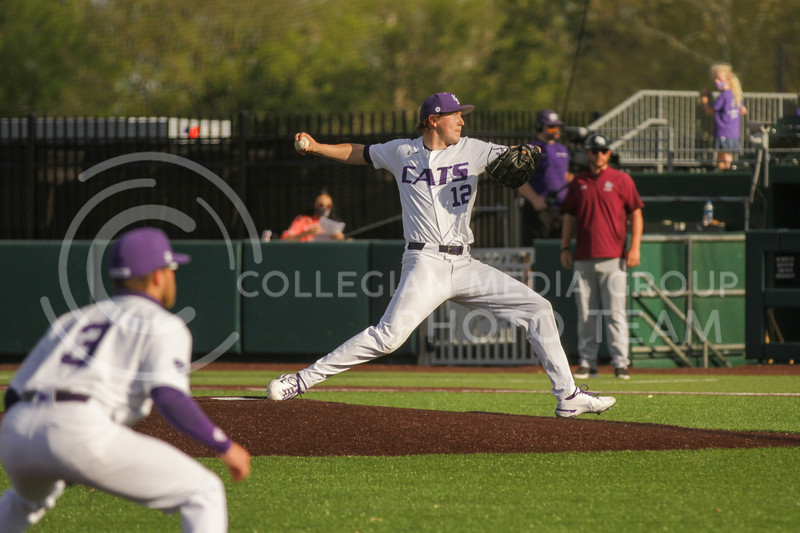 Junior Tyler Eckberg pitches the ball during the May 1, 2021 game against Texas Southern at Tointon Family Stadium. (Sophie Osborn | Collegian Media Group)