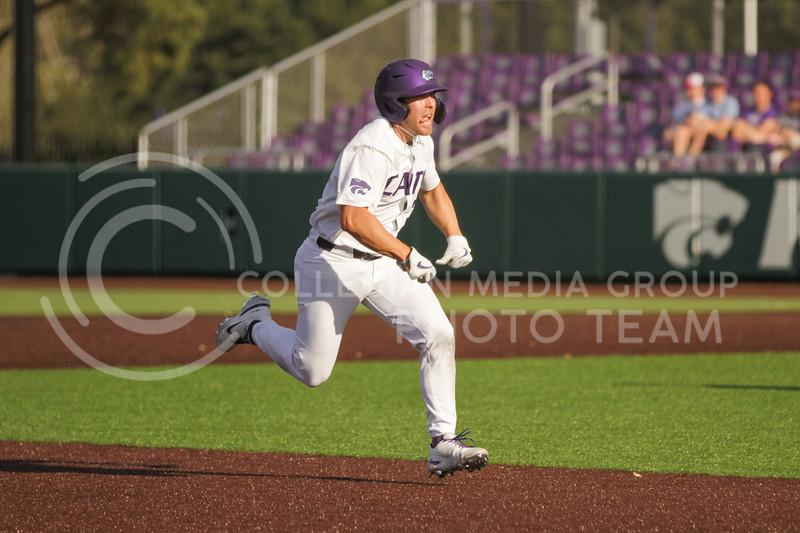 Junior Austin Garrett runs towards third base during the May 1, 2021 game against Texas Southern at Tointon Family Stadium. (Sophie Osborn   Collegian Media Group)