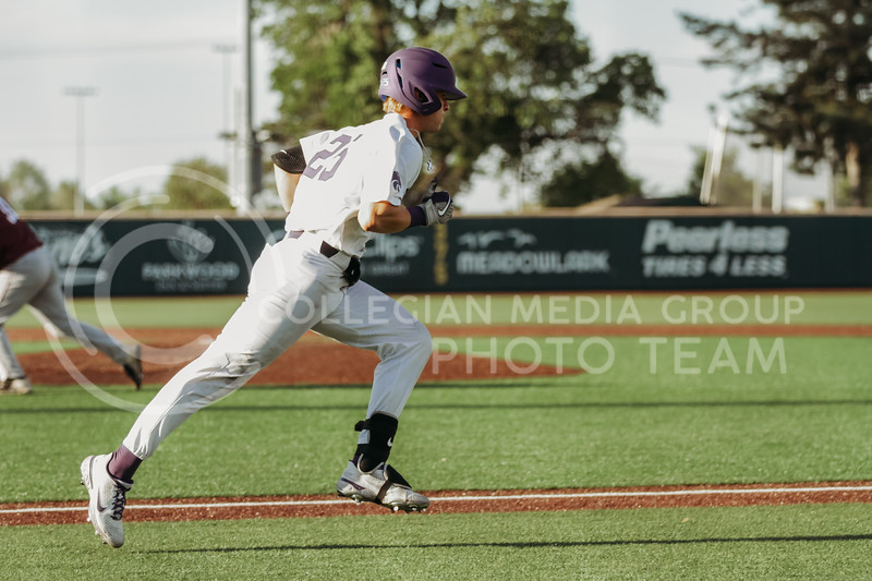 Freshman Nick Goodwin runs toward first base during the May 1, 2021 game against Texas Southern at Tointon Family Stadium. (Sophie Osborn | Collegian Media Group)