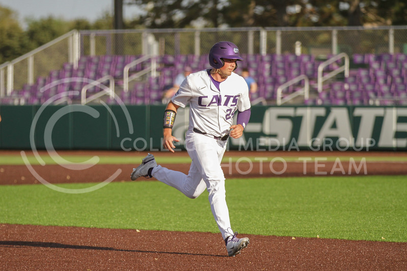Sophomore Dylan Phillips runs to third base during the May 1, 2021 game against Texas Southern at Tointon Family Stadium. (Sophie Osborn | Collegian Media Group)