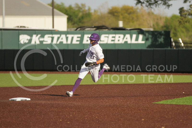 Sophomore Cole Johnson runs towards second base during the May 1, 2021 game against Texas Southern at Tointon Family Stadium. (Sophie Osborn | Collegian Media Group)
