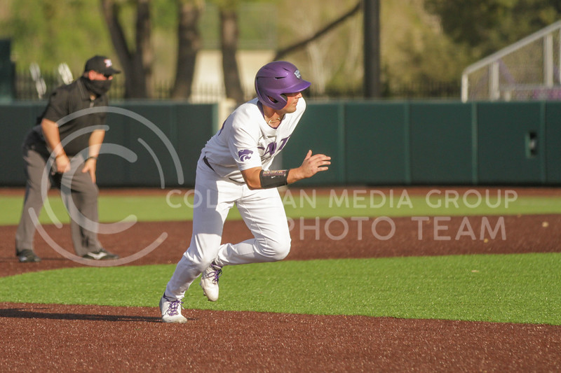 Sophomore Dylan Phillips hustles to third base during the May 1, 2021 game against Texas Southern at Tointon Family Stadium. (Sophie Osborn | Collegian Media Group)
