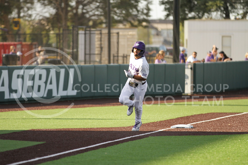 Sophomore Daniel Carinci runs to home plate after hitting a home run during the May 1, 2021 game against Texas Southern at Tointon Family Stadium. (Sophie Osborn | Collegian Media Group)