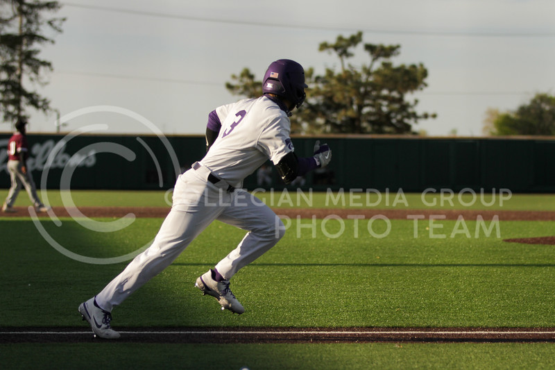 Senior Cameron Thompson runs towards first base during the May 1, 2021 game against Texas Southern at Tointon Family Stadium. (Sophie Osborn | Collegian Media Group)