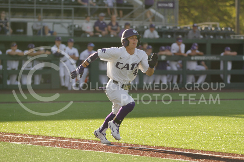 Sophomore Blake Burrows runs towards first base during the May 1, 2021 game against Texas Southern at Tointon Family Stadium. (Sophie Osborn | Collegian Media Group)