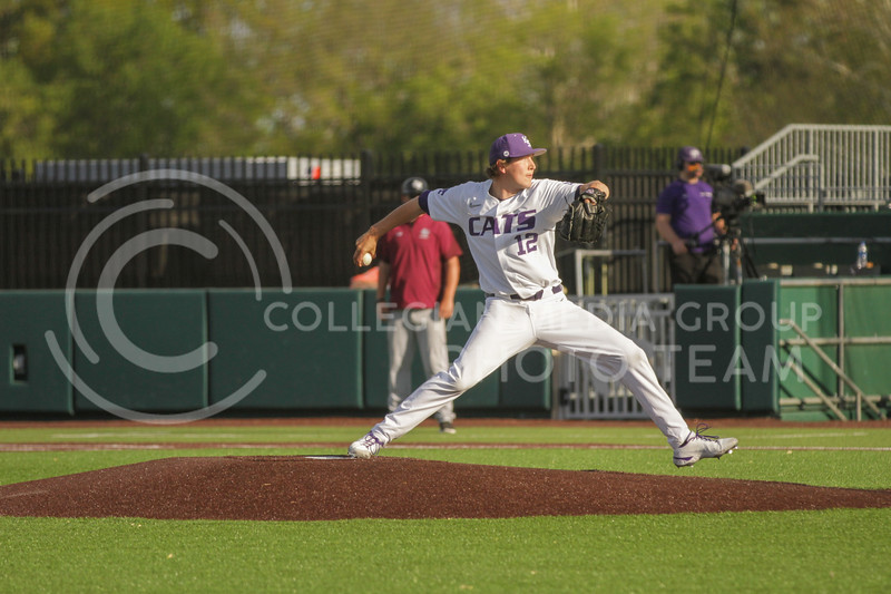 Junior Tyler Eckberg prepares to pitch the ball during the May 1, 2021 game against Texas Southern at Tointon Family Stadium. (Sophie Osborn | Collegian Media Group)