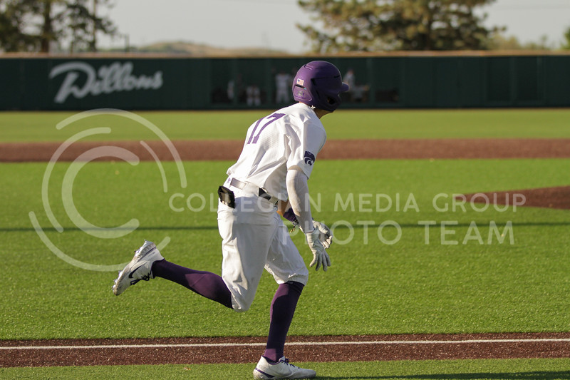 Sophomore Cole Johnson runs towards first base during the May 1, 2021 game against Texas Southern at Tointon Family Stadium. (Sophie Osborn | Collegian Media Group)