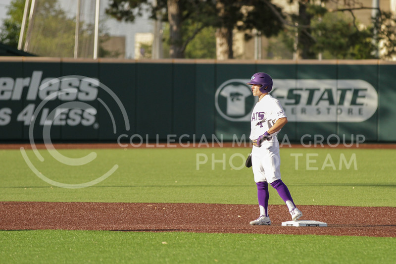 Sophomore Blake Burrows waits at second base during the May 1, 2021 game against Texas Southern at Tointon Family Stadium. (Sophie Osborn | Collegian Media Group)
