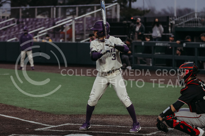 Senior Cameron Thompson gets ready to bat during the first game against Texas Tech on April 1, 2021. (Sophie Osborn   Collegian Media Group)