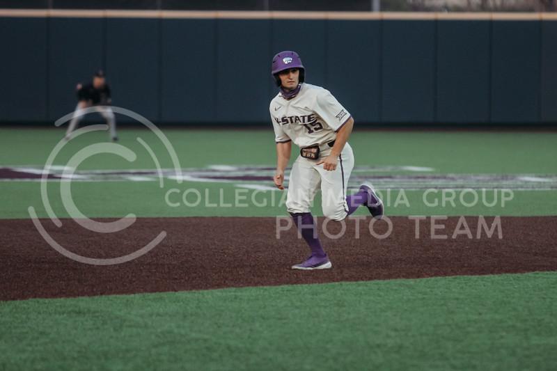 Freshman Luck Beckstein runs toward second base during the first game against Texas Tech on April 1, 2021. (Sophie Osborn   Collegian Media Group)