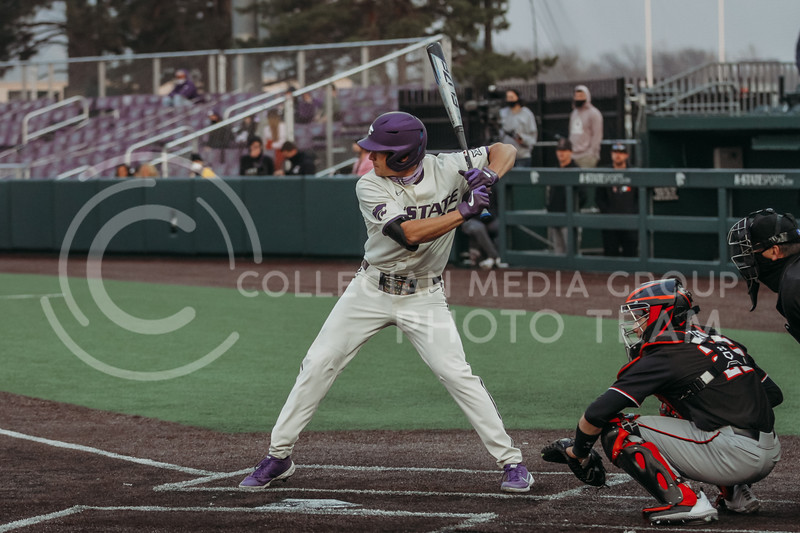 Freshman Luke Beckstein gets ready to bat during the first game against Texas Tech on April 1, 2021. (Sophie Osborn   Collegian Media Group)