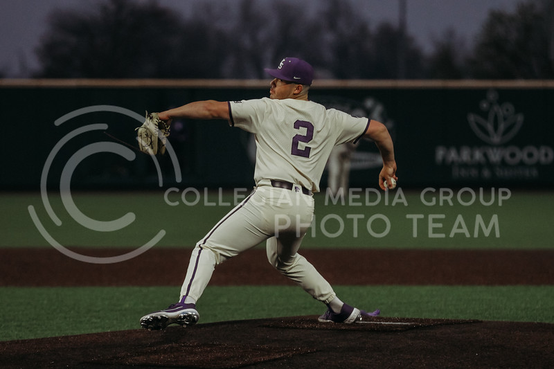 Junior Jaxon Passino pitches during the first game against Texas Tech on April 1, 2021. (Sophie Osborn   Collegian Media Group)
