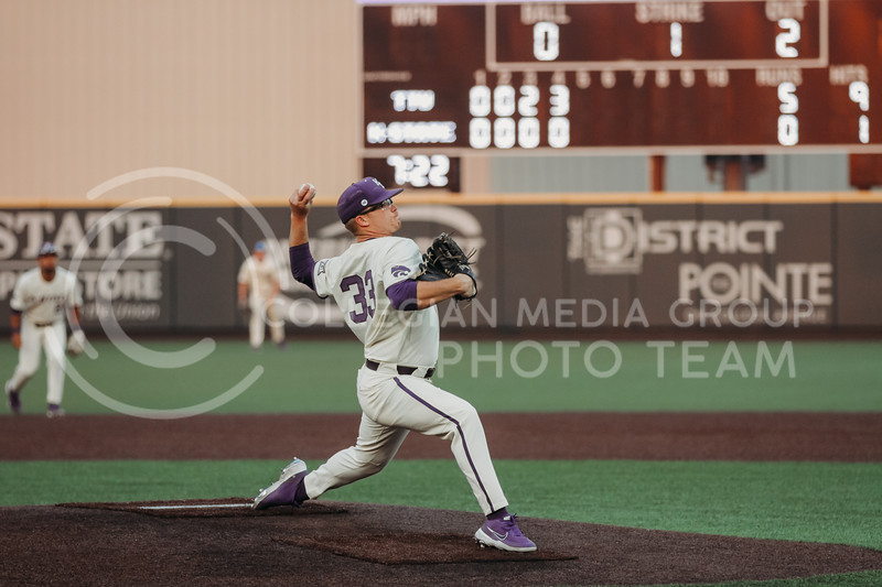 Sophomore pitcher Jordan Wicks pitches the ball during the first game against Texas Tech on April 1, 2021. (Sophie Osborn   Collegian Media Group)