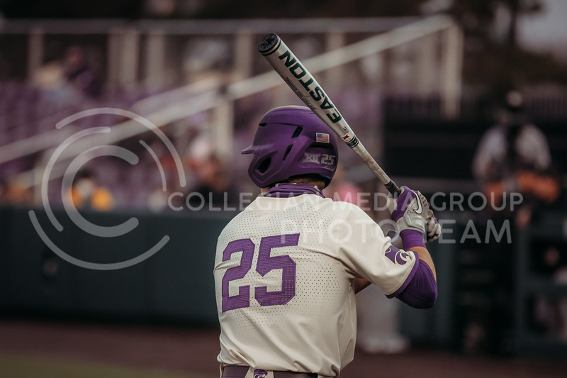Freshman Nick Goodwin gets ready to bat during the first game against Texas Tech on April 1, 2021. (Sophie Osborn   Collegian Media Group)