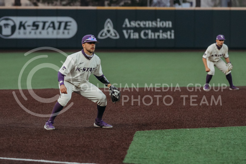Senior Cameron Thompson waits for the play during the first game against Texas Tech on April 1, 2021. (Sophie Osborn   Collegian Media Group)